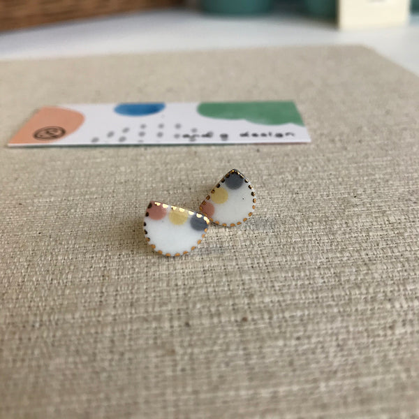 Half moon Stud Earrings / Yellow, Grey + Watermelon