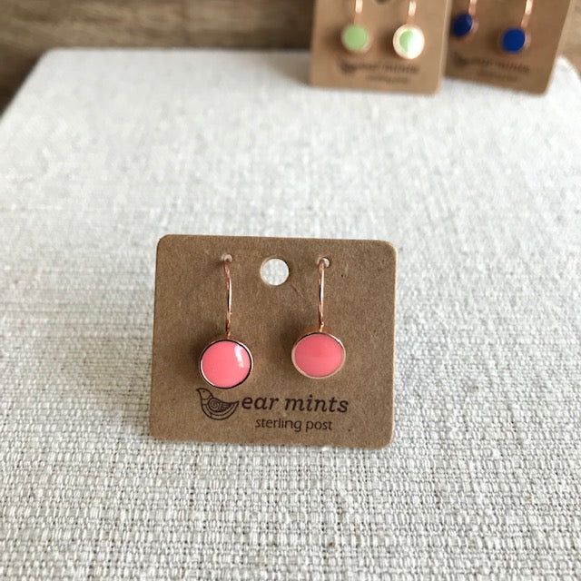 Small Enamel Drop Earring / Rose Gold Coral