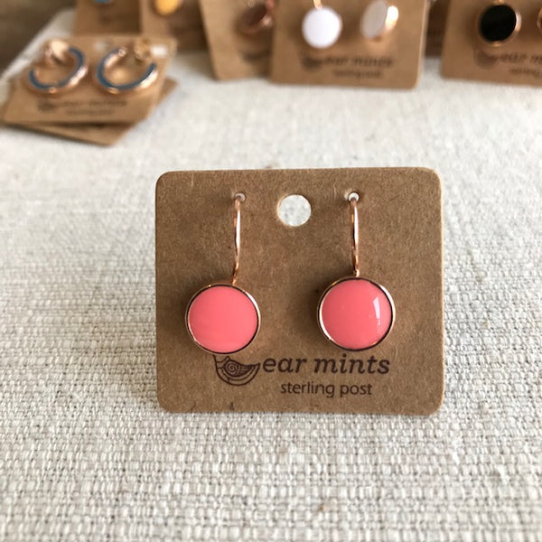 Enamel Drop Earring / Rose Gold Coral