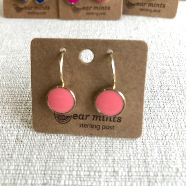 Enamel Drop Earrings / Gold Coral