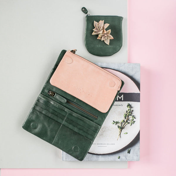 Jane Purse / Dark Green & Dusky Pink