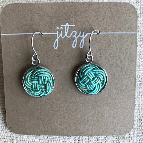 Flat knot drop Earrings / Turquoise with gold flecks