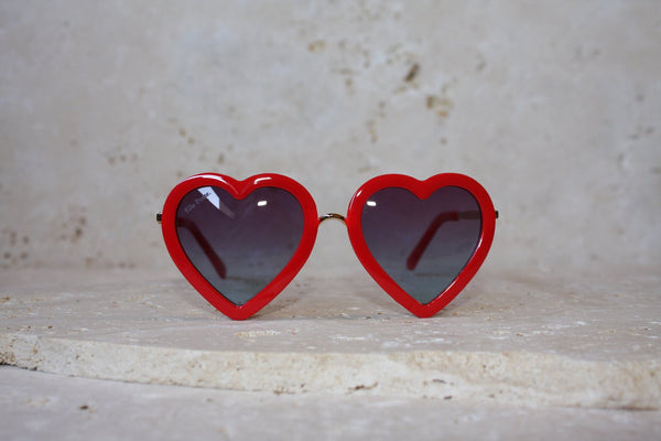 Love Heart Kids Sunglasses / Red