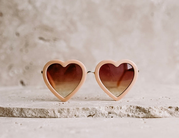 Heart Shaped Kid's Sunglasses / Peach
