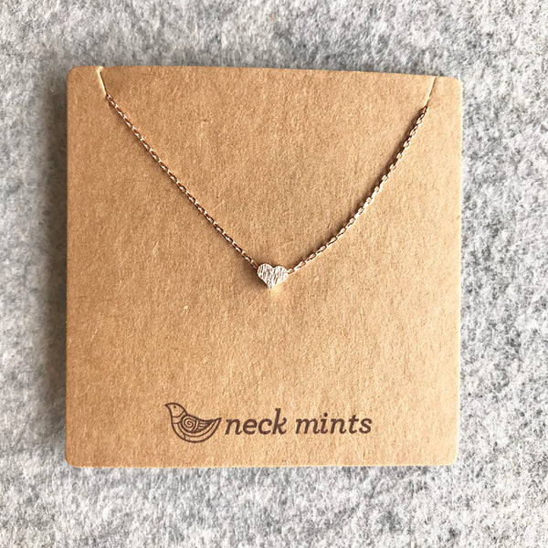 Tiny brushed heart necklace / Rose Gold