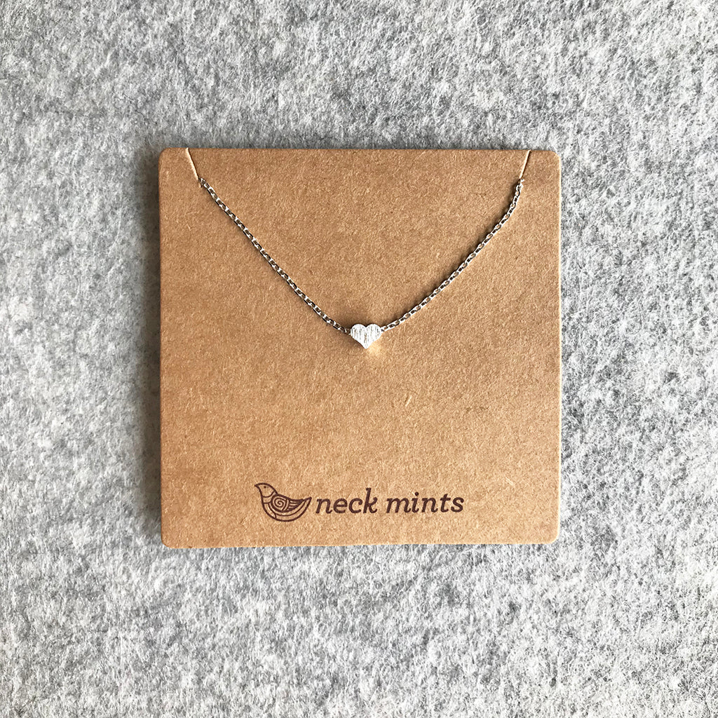 Tiny brushed heart necklace / Silver