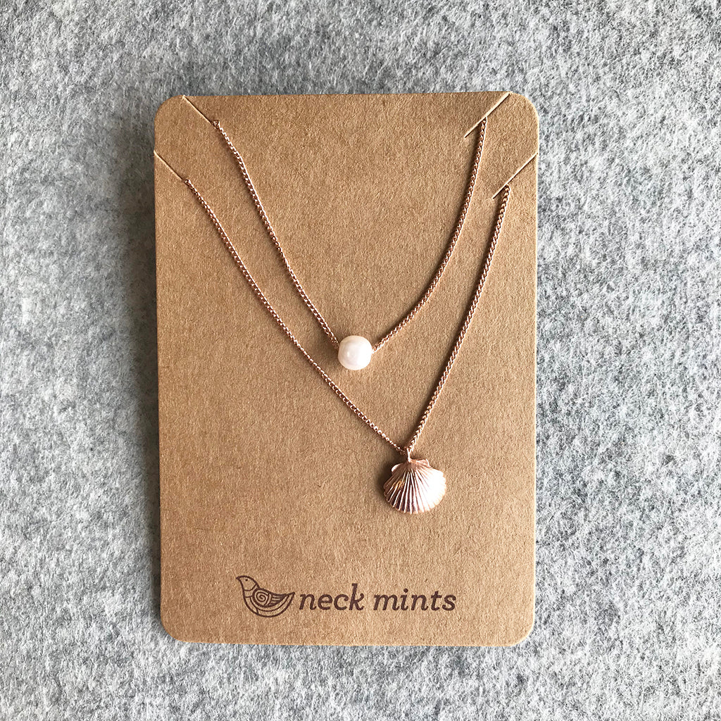 Double necklace Rose Gold / Shell & Bead