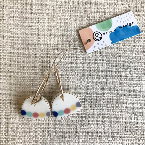 Bell Drop Earrings / Multi coloured dots