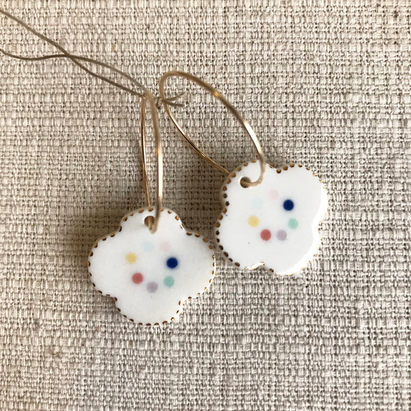 Flower Drop Earrings / Multicolour dots