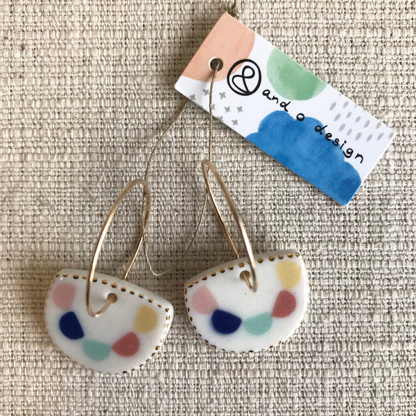 Half Moon Drop Earrings / Multi coloured bunting