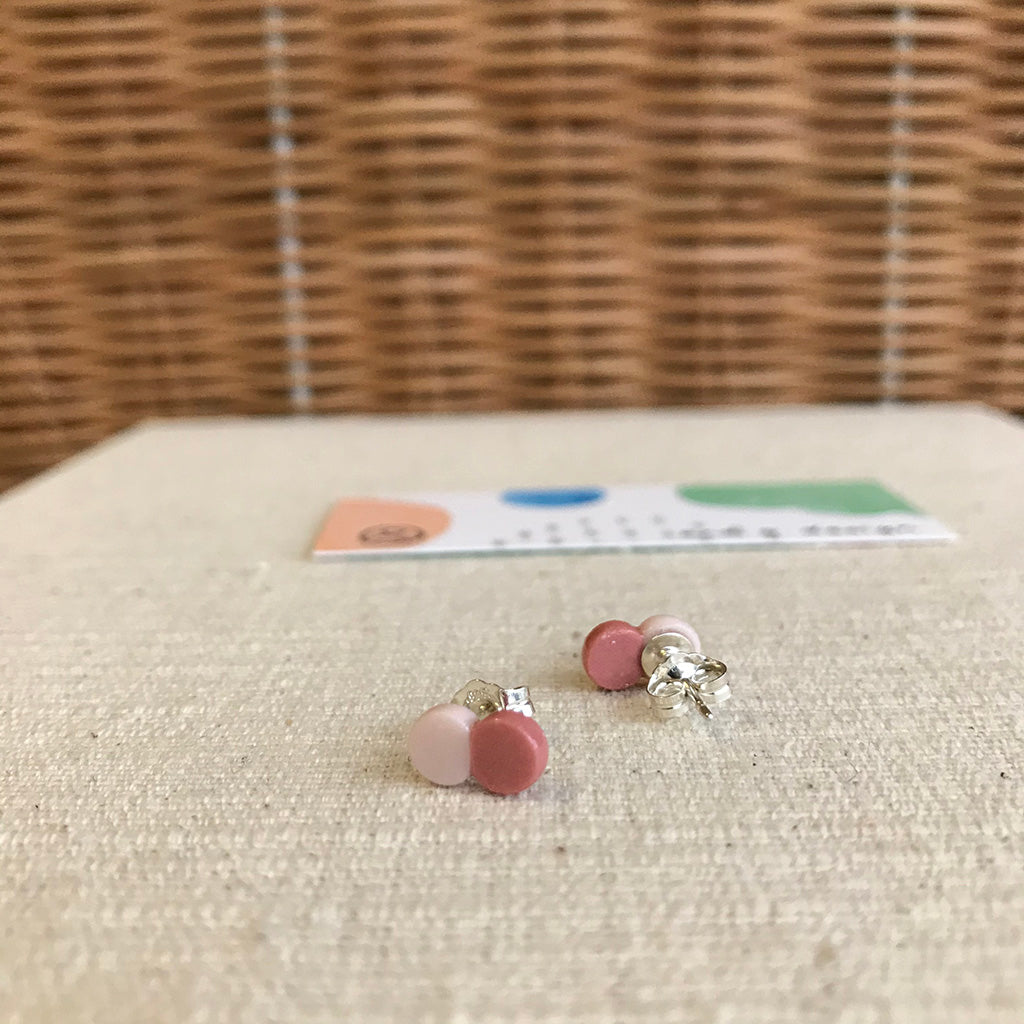 Cocoon Stud Earrings / Pale PInk & Watermelon