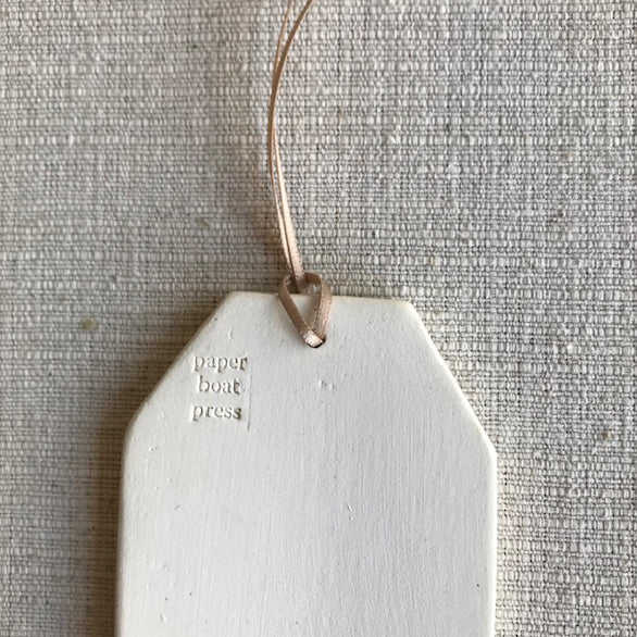 Ceramic Quote Tag / Earth laughs in flowers