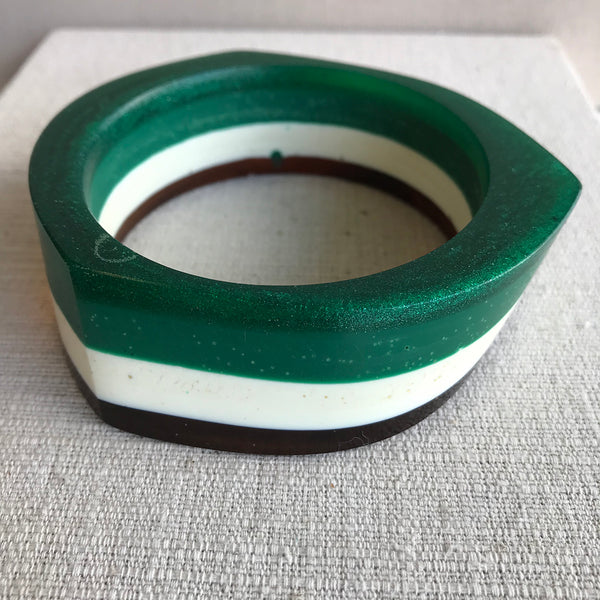 Angular Resin Bangle / Green, Creme & Dark Amber