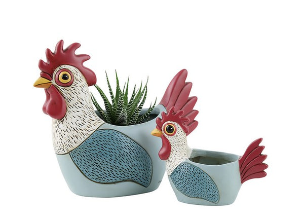 Rooster Planter / Pale Blue