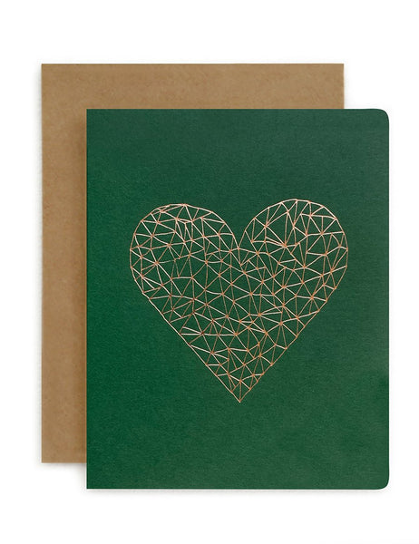 Greeting Card / 'Geometric Heart Green'