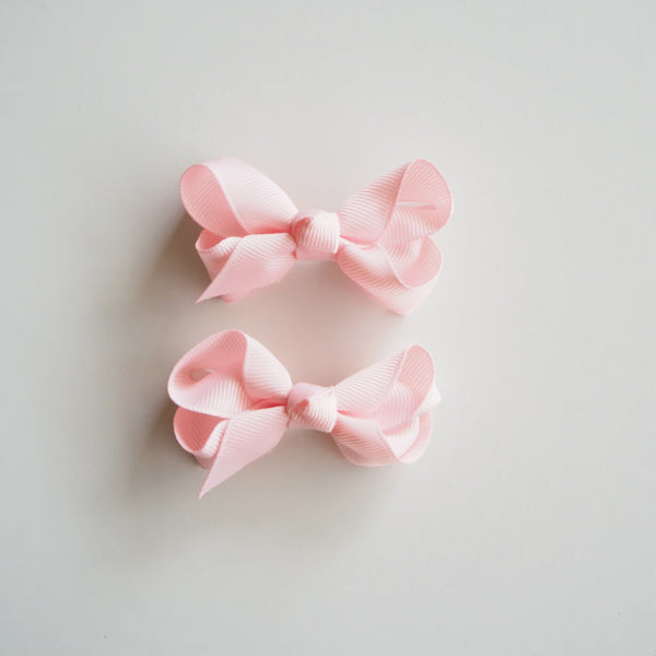 Small Clip Bow Piggy Tail Pair / Light Pink