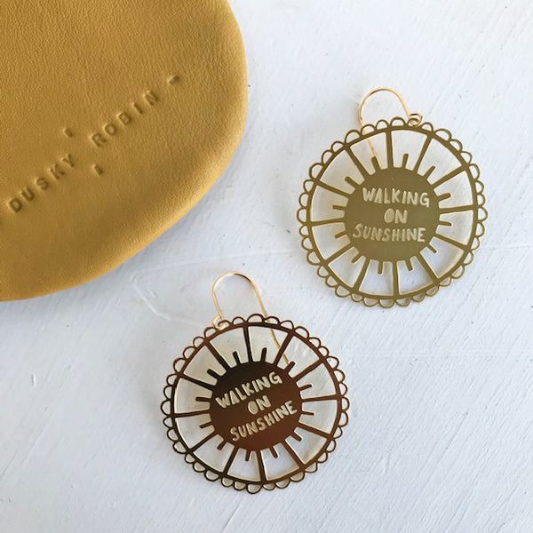 Walking on Sunshine statement earrings / Gold