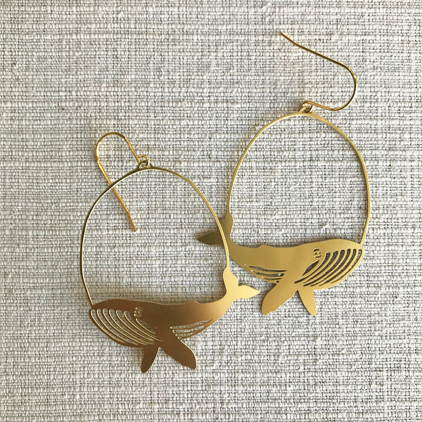 Whale Earrings / Gold