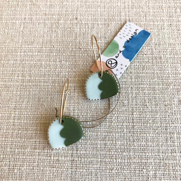 Canyon Drop Earrings / Green & Pale Blue