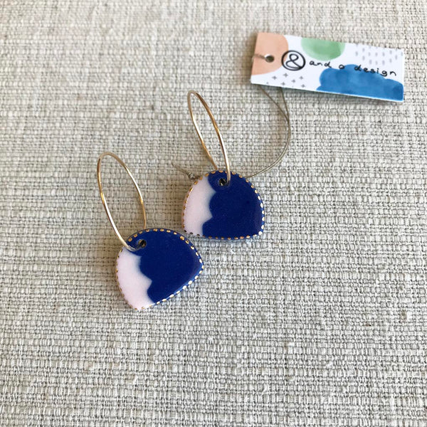 Canyon Drop Earrings / Indigo & Pale Pink