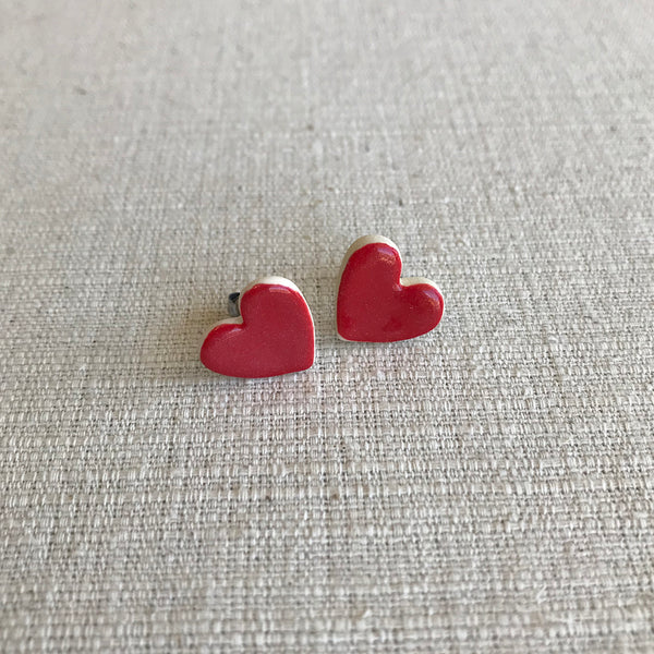 Ceramic Heart Earrings / Red