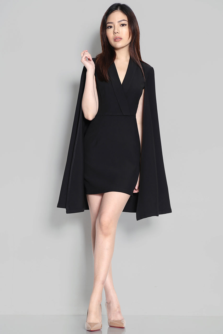 Hill Tuxedo Cape Dress