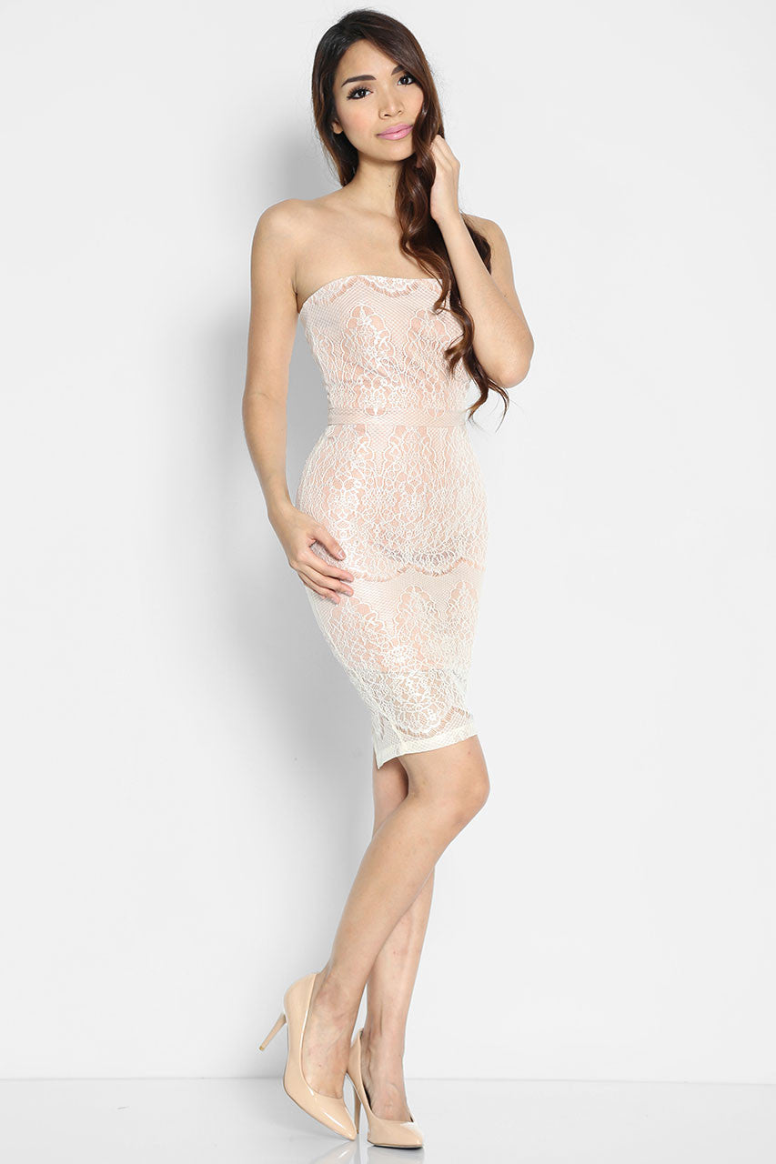 Laudes Nude Bandeau Dress