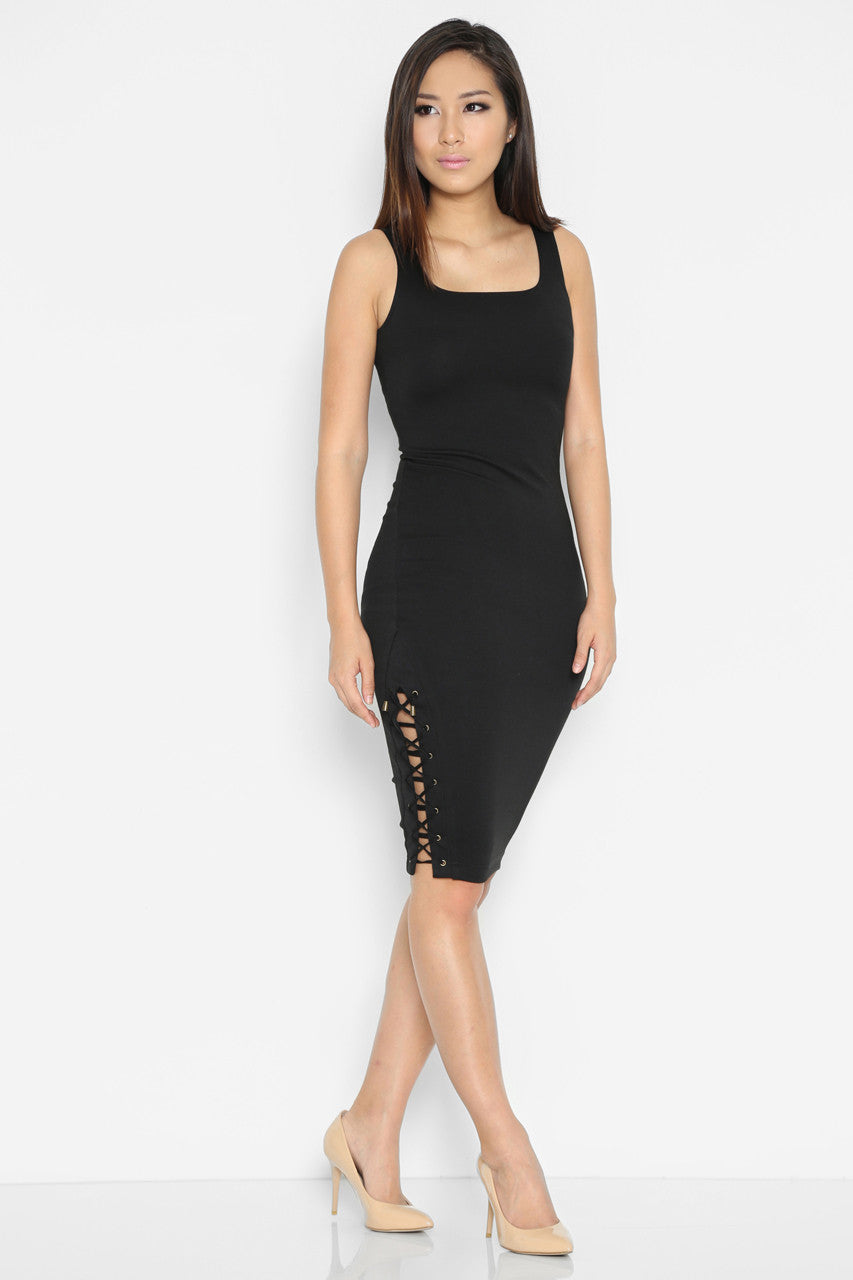 Abelardo Side Lace-Up Dress