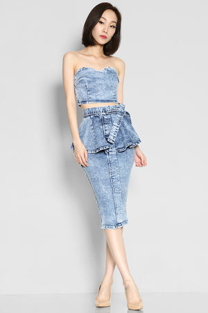 (SALE) Channing Peplum Denim Skirt