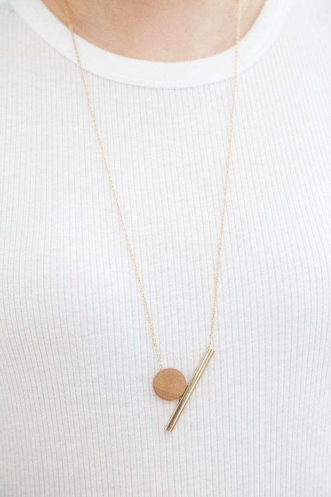 Bianca Wood Necklace, Minimal jewelry. Adding a wood piece for a rustic feel to modernity. A sweet contrast between mother nature and modernity. An essential for your minimalistic beauty.