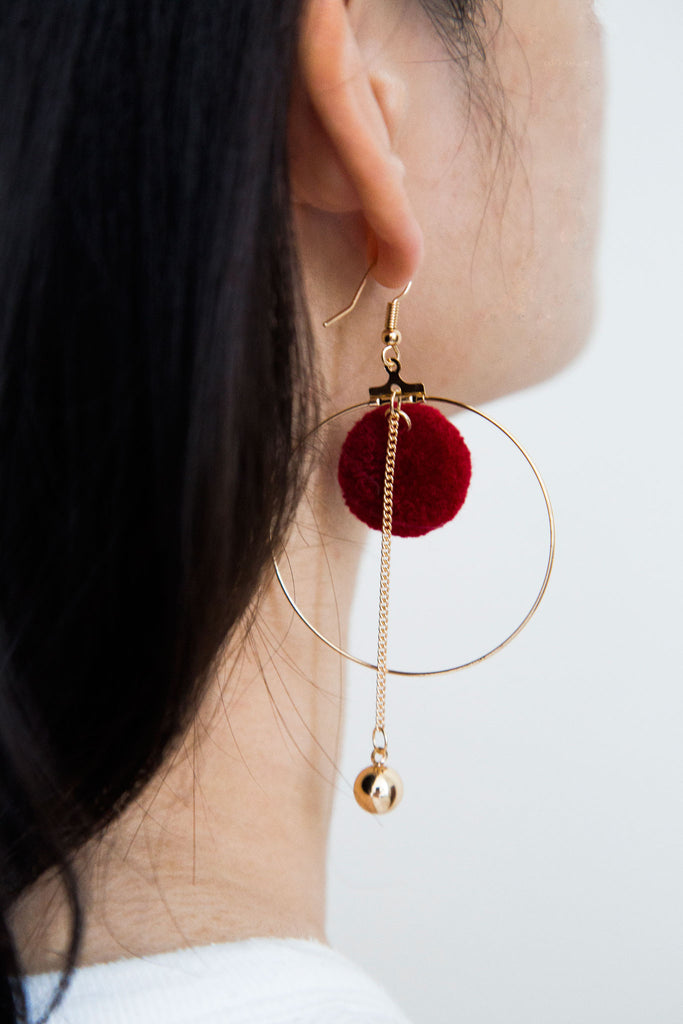 Pom Pom Earrings, elevated modern retro jewelry. Fusing contemporary and classical designs for the perfect blend.The retro pom pom suspended gold ball and large hoop makes this trio, an earring for any occasion.