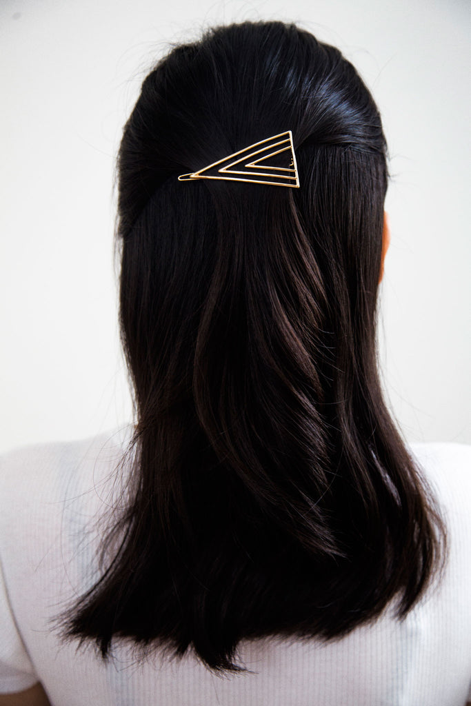 Zenith Barrette, Modern Hair Accessories. Symmetrical lines converging together like the zenith of a mountain. Feminine and clean for an elegant look.