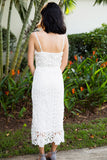 Kayla dress. Elegant and super feminine, sleeveless and over-the-knee length in romantic lace with an accentuated waist that adds an urban feel.