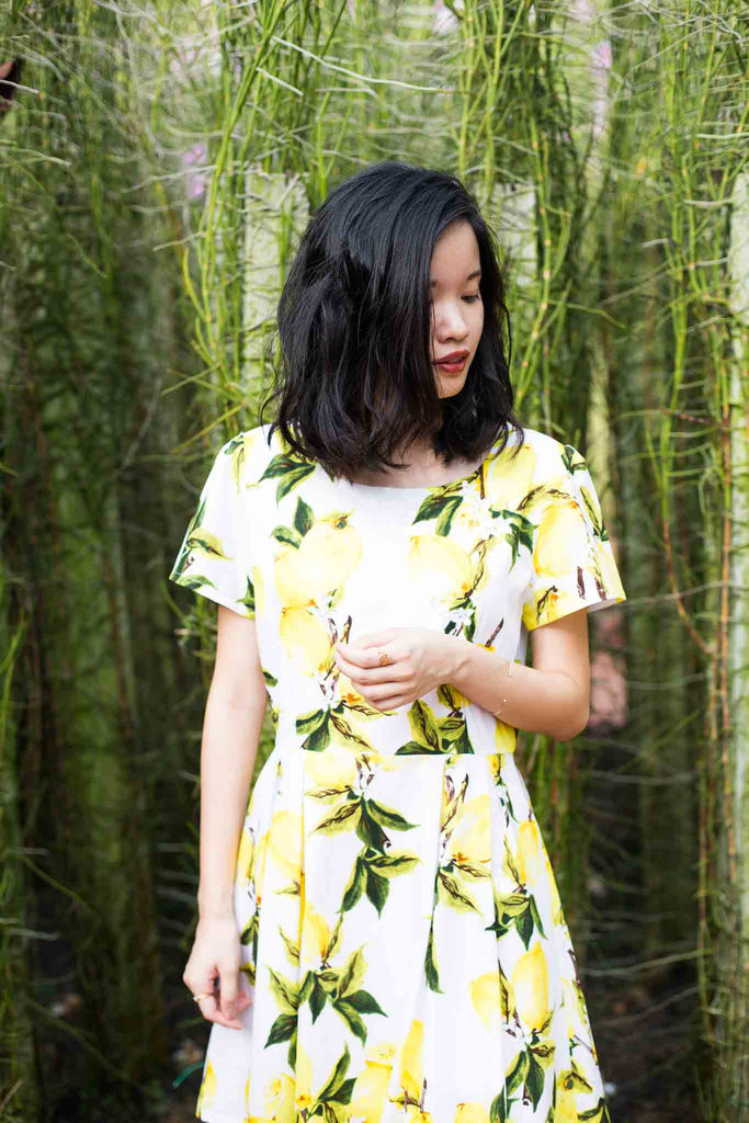 Lemon Print Dress. Cheerful lemon prints to brighten up your life, when life gives you lemon. This dress is truly comfortable and fits beautifully. All hail the lemon print! Fully lined and finished with a hidden zip up closure at the back.