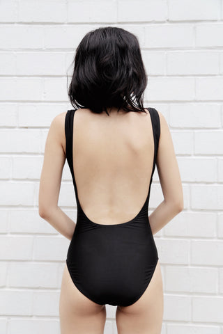 Zoe Plunging Scoop Back One Piece - Black