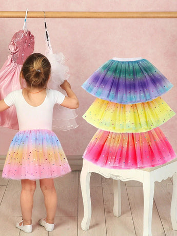 Baby Girl's Rainbow Tutu Skirt 4-Layer Tulle Princess Ballet Dress