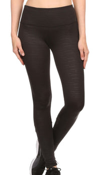 Juniors High Rise Fintess Leggings Yoga Pants w/ Black Mesh Leg Panels
