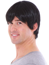 Men's Short Layered Black Full Wig with Wig Cap