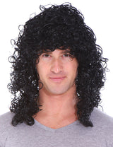 Mens 80s Rocker Long Curly Wig Full Hair Black Wigs