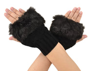 Women's Winter Soft Fuzzy Faux Fur Fingerless Mitten Gloves