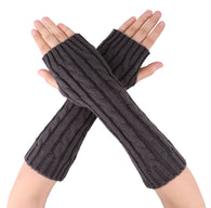 Women's Long Knitted Stretchy Fingerless Gloves
