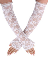 Simplicity Evening Party Wedding Fingerless Elbow Flowers Lace Gloves