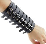 Black Fake Leather Adult Elastic Stretch Band Comfort Fit Wristband