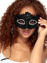 Women Lace Venetian Masquerade Mask with Rhinestone and Flower