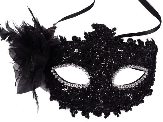 Sheer Lace and Floral Mardi Gras Masquerade Costume Mask