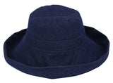 Women's Cotton Summer Beach Sun Hat with Wide Fold-Up Brim