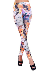 Women Lady Punk Style Cat Print Skinny Funky Legging