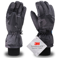 Men's 3M Thinsulate Waterproof Gloves, Black/Grey