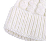 Womens Winter Hand Knit Faux Fur Pompoms Beanie Hat