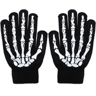 Unisex Full Finger Skeleton Pattern Glow in The Dark Knit Gloves
